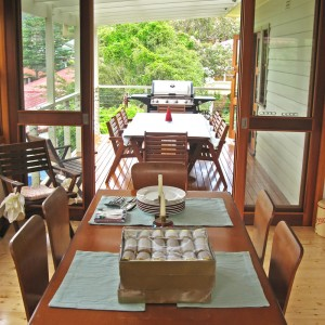 View from dining room to deck