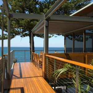 Steel structure, balustrading, teak deck and pergola