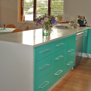 Stone bench top, polyurethane kitchen and blackbutt hardwood flooring