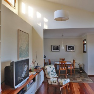 Living room with clerestory window above